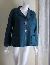 FOCUS -Sz M Teal Blue Funky French Artsy Waffle Cotton Blazer or Jacket