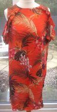 DOROTHY PERKINS Orange Cold Shoulder Dress - Size 16 - Tropical Floral Sun