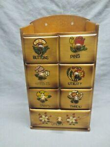 Vtg Japan Wood Sewing Kit Box 7 Drawers Wall Hung Storage Cabinet Notions Floral