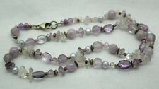 Vintage Beautiful White & Pale Amethyst & Pearl Bead Necklace Silver Fastener