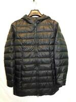 Eddie Bauer M Black Down Jacket Womens Quilted Coat Full Zip Hood Nylon Winter m