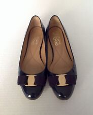 """Ferragamo"" Verina Ballet Flats In Oxford Blue Patent Leather, Size 6.5B"