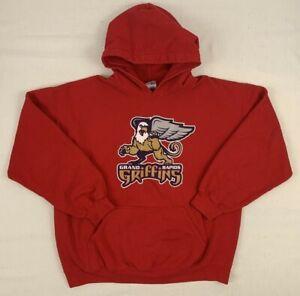 grand rapids griffins ahl minors hockey pullover hoodie 50/50 sweatshirt large
