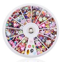 1200pcs Nail DIY Mixed Charms Slice Rhinestones Nail Art Tips Wheel Manicure