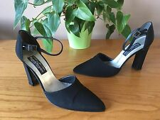 Stuart Weitzman for Russell Bromley black linen court shoes UK 6.5 EU 39.5