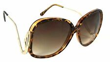 WOMEN RETRO SUNGLASSES OVERSIZED HONEY STYLE VINTAGE GOLD METAL ARMS BROWN FRAME
