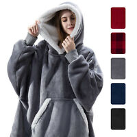 Fleece Hoodie Sweatshirt Wearable Comfy Blanket w/ Hood Sleeves Pocket Bathrobe