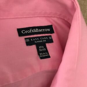Croft & Barrow Mens 1Dress Shirt 5 1/2 - 32/33 Classic Fit Pink Button Front