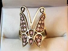 Sterling Silver Pink CZ Butterfly Papillon Insect size 6.5 Ring 10c 11