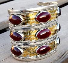 Silver Plated Carnelian Turkmen Bracelet Tribal Kuchi Afghan Antique Cuff Ethnic