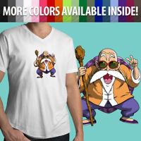 Anime Master Roshi Turtle Hermit Anime Funny Mens Tee V-Neck T-Shirt