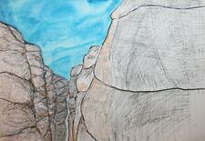 Mountain landscape watercolors and ink drawing