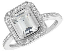 925 Sterling Silver Halo Emerald cut CZ set 2mm Eternity Ring - J-R available