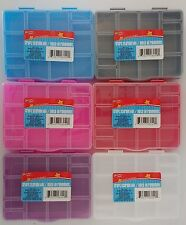 """SMALL PLASTIC LOCK-TOP STORAGE BOXES 15 SECTIONS 6.5""""x5.2""""x1.2"""" SELECT: Color"""
