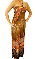 NEW Brown Multi-color Sexy Juniors Summer Beaded Maxi Halter Long DRESS S M L XL