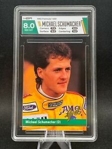 1992 GRID F1 MICHAEL SCHUMACHER #51 HGA 8 NM-MT GRADED CARD CUSTOM COLOUR ROOKIE