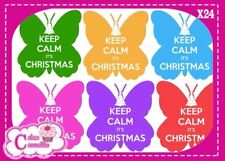 Edible Icing Sheet 24 X Keep Calm Its Christmas Butterfly Cupcake Toppers 9201