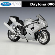 Triumph Daytona 600 Silver Diecast Motorcycle Models WELLY Toys In 1:18 Scale