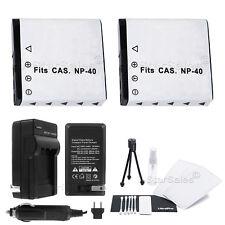 2x NP-40 Battery + Charger for Casio EX-Z100 Z200 Z300 Z450 Z500 Z600 Z700