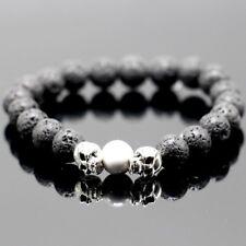 Mens Charm Unisex Black Lava Rock Cool Skull Head Bead Elastic Bracelet Gift