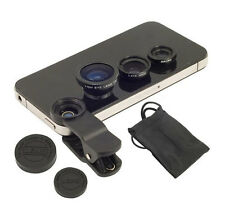 Universal Black 3 in 1 Fish Eye Wide Angle Macro Clip Lens Set For iPhone iPad