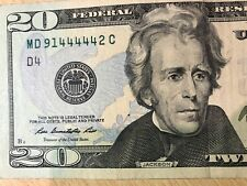 FIVE OF A KIND SOLID 44444's - $20 Dollar Bill SERIAL NUMBER MD 91 44444 2 C