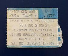 1981 ROLLING STONES AMERICAN TOUR USED TICKET STUB COTTON BOWL DALLAS TX: ZZ TOP