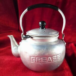 Vintage Aluminum Grease Catcher / Teapot w/ Strainer. DISPLAY ONLY, It Leaks