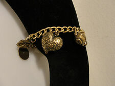 "telephone shears heart moon 7.5"" Discovery of California charm bracelet vintage"