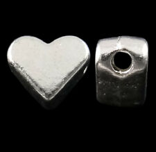 ❤ 30 x Bright Silver Plated HEART SPACER BEADS 6mm x 4mm Jewellery Making UK ❤
