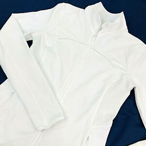 Lululemon Athletica Mesh is More Full Zip Jacket Sz 8 White Yoga Workout