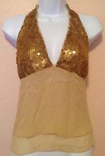 NWT YA YA Gold Sequin Designer Top Halter Sexy Holiday Party NYE Size Medium