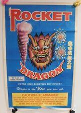 ORIGINAL VINTAGE ROCKET DRAGON FIREWORKS FIRECRACKERS POSTER 35 X 24