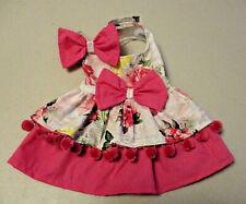 XS female Dog dress [poms pink] cotton handmade
