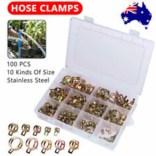 100Pcs Spring Clip Fuel Line Hose 6-22mm Water Pipe Air Tube Clamps Fastener AU