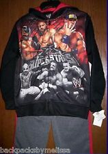 WWE SuperStars Hoodie Pants Set NeW Boy's 8 Zip-Up Jacket John CENA Rey Mysterio