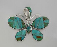 SURPRISING HANDMADE TURQUOISE/MULTICOLOR INLAY .925 SILVER BUTTERFLY PENDANT