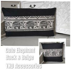HANDMADE cushion cover use Indian cute elephant on black beige cotton Fabric
