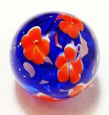 "Handmade Glass Marble Florals ""California Poppy"" 22mm Shooter"