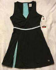 Fila Love Game Tennis Dress-Black and Aqua, Size L, 50+ UPF, ..NEW