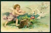 GREETINGS EMB PC TO MY SWEETHEART CHERUB CHASING WHITE DOVES