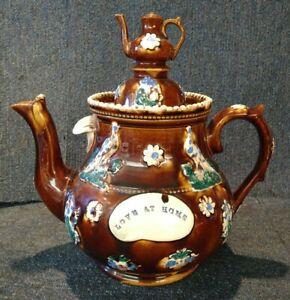 Large Antique Victorian Measham Bargeware Teapot Love At Home Treacle Glaze