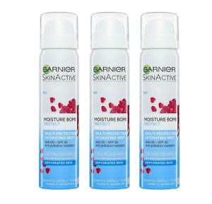 Garnier Moisture Bomb Face Mist Protect & Hydrate 75ml SPF30 - 3 PACK - UK