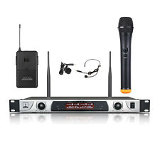 Wireless Microphone System Handheld Lavalier & Headset Mic Dual Channel Stage