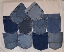10 Blue Jean Denim Pockets Quilting Crafts From Adult Mens Womens wrangler Levi