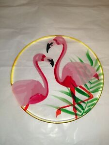 PIER 1 IMPORTS Fanni The Pink Flamingo Dessert Salad Painted Glass Plate
