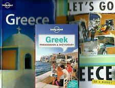 Lot of 3 Books on Travel to Greece: Let's Go Greece, Lonely Planet & Phrasebook