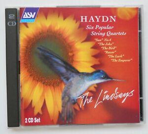 HAYDN 6 POPULAR STRING QUARTETS,LINDSAYS,2 CD,SUN,JOKE,BIRD,RAZOR,LARK,EMPEROR.