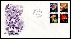 US FDC  # 3487-3490 34c Flowers From Bklt ArtCraft  2001, 9g077