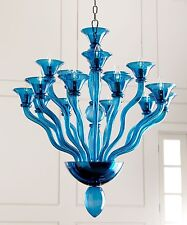 New Blue Murano Style Glass Chandelier Modern 15-Light Dining Room Entry Foyer